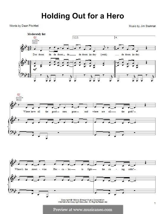 Holding Out for a Hero (Bonnie Tyler): Para vocais e piano (ou Guitarra) by Jim Steinman