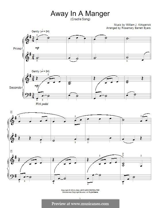 Away in a Manger: para piano de quadro mãos by William (James) Kirkpatrick