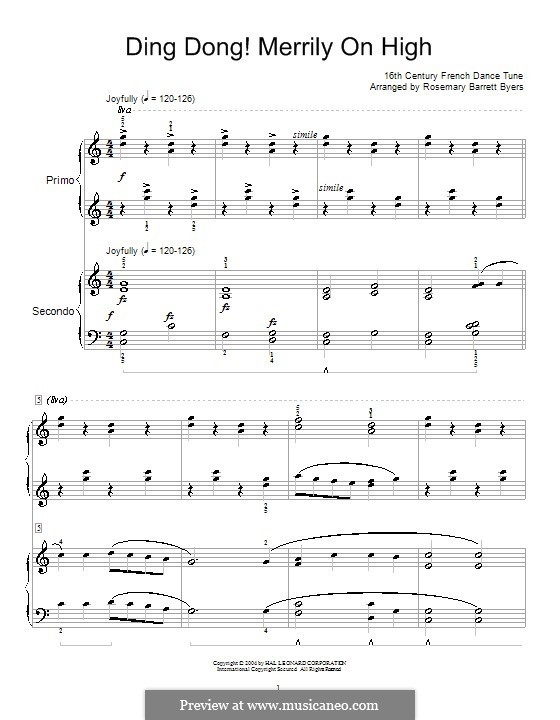 Ding Dong! Merrily on High (Printable Scores): para piano de quadro mãos by folklore