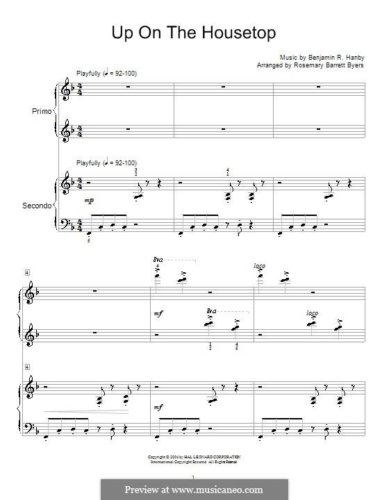 Up on the House Top: para piano de quadro mãos by Benjamin Russel Hanby