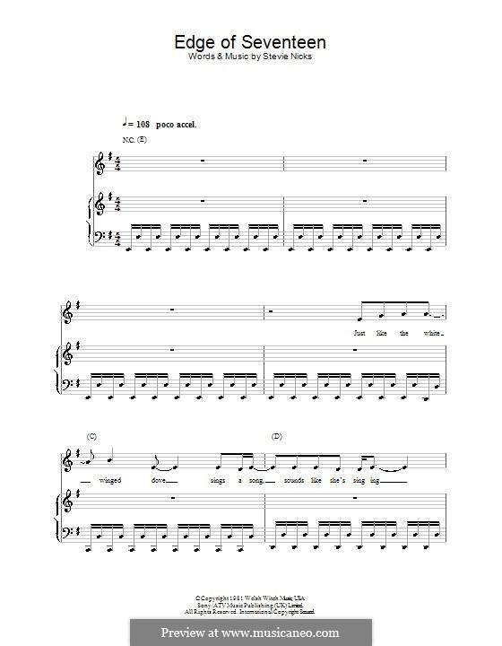 Edge of Seventeen (from School of Rock): Para vocais e piano (ou Guitarra) by Stevie Nicks