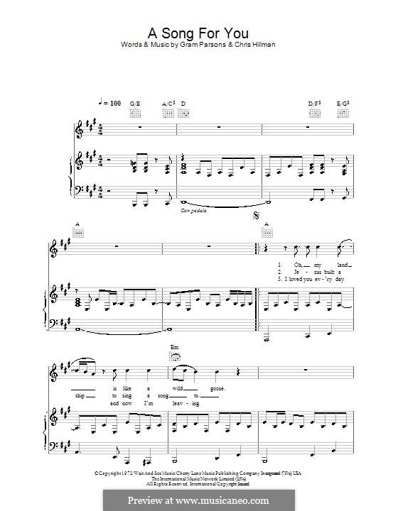 A Song for You: Para vocais e piano (ou Guitarra) by Chris Hillman, Gram Parsons