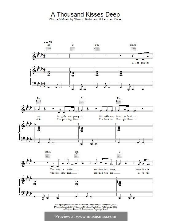 A Thousand Kisses Deep: Para vocais e piano (ou Guitarra) by Leonard Cohen, Sharon Robinson