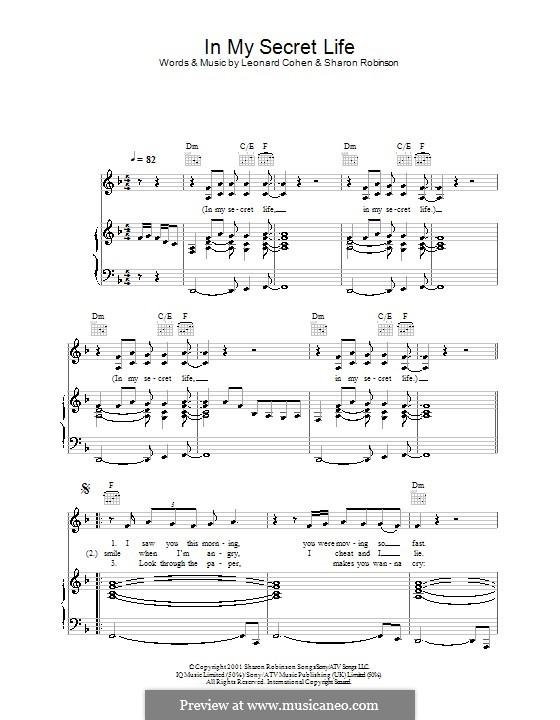 In My Secret Life: Para vocais e piano (ou Guitarra) by Leonard Cohen, Sharon Robinson