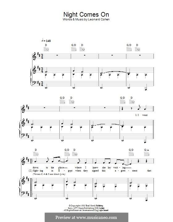 Night Comes on: Para vocais e piano (ou Guitarra) by Leonard Cohen