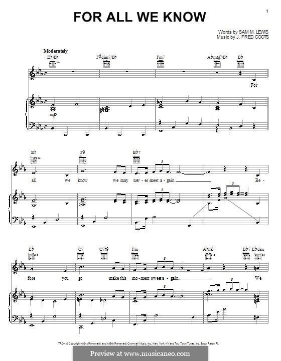 For All We Know: Para vocais e piano (ou Guitarra) by J. Fred Coots