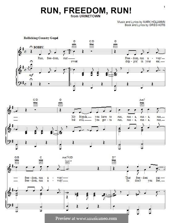 Run, Freedom, Run!: Para vocais e piano (ou Guitarra) by Greg Kotis, Mark Hollmann