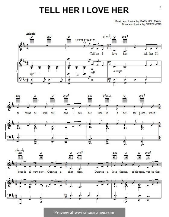 Tell Her I Love Her: Para vocais e piano (ou Guitarra) by Greg Kotis, Mark Hollmann