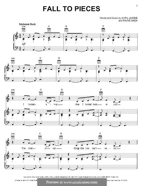 Fall to Pieces: Para vocais e piano (ou Guitarra) by Raine Maida