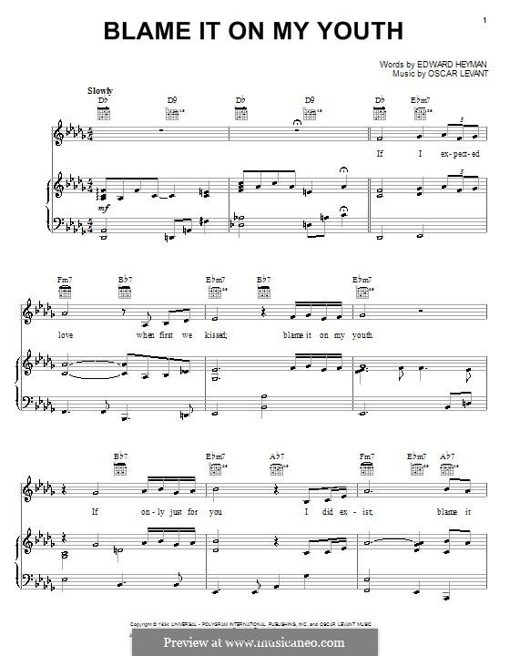 Blame It on My Youth: Para vocais e piano (ou Guitarra) by Oscar Levant