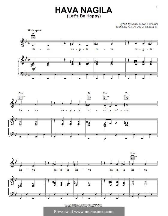 Hava Nagila: Para vocais e piano (ou Guitarra) by folklore