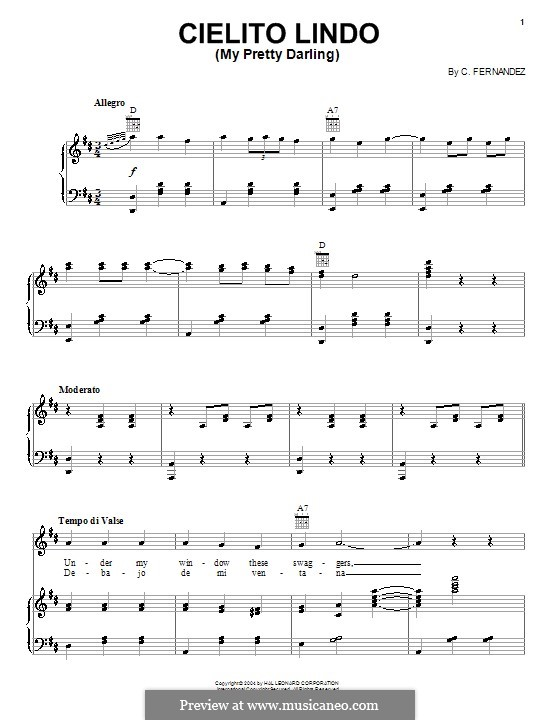 Cielito Lindo: Para vocais e piano (ou Guitarra) by folklore