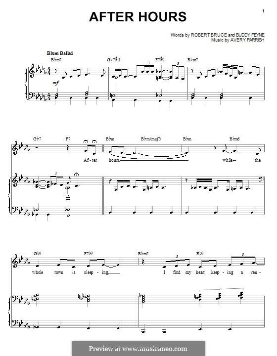 After Hours: Para vocais e piano (ou Guitarra) by Avery Parrish, Buddy Feyne, Robert Bruce