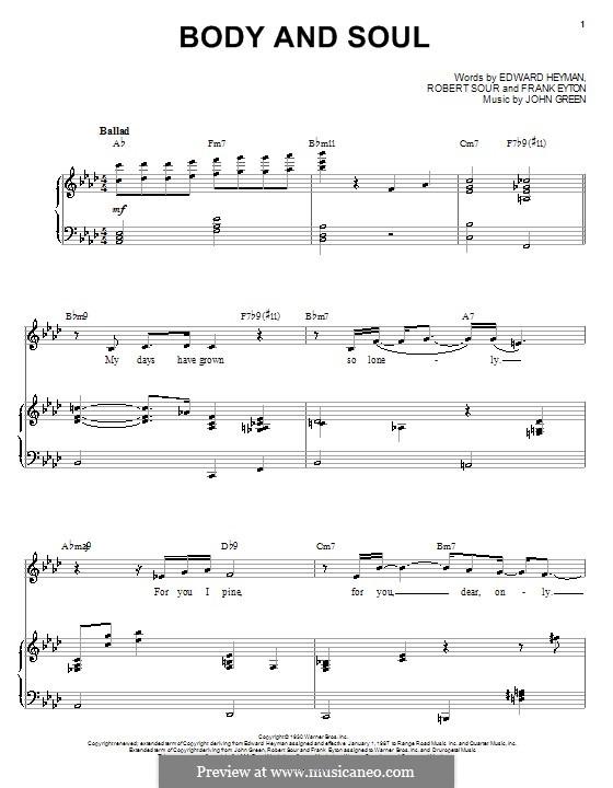 Body and Soul: para vocais,piano ou guitarra by John W. Green