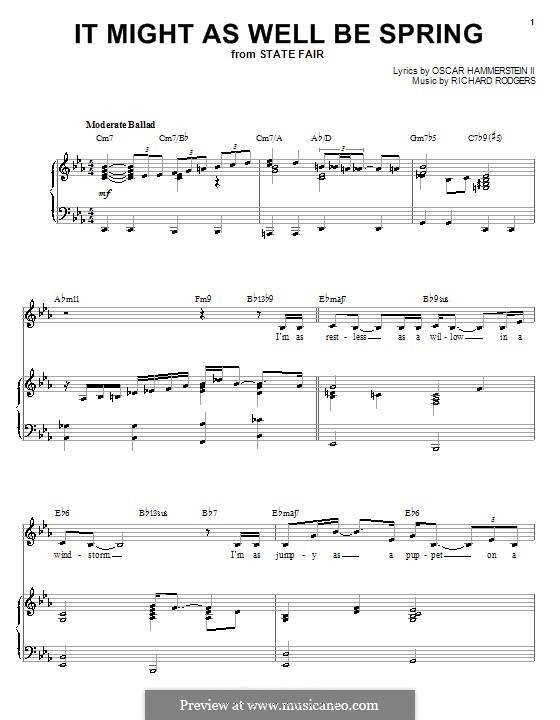It Might as Well Be Spring: para voz e piano ou guitarra (E flat maior) by Richard Rodgers