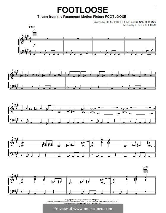Footloose: Para vocais e piano (ou Guitarra) by Kenny Loggins