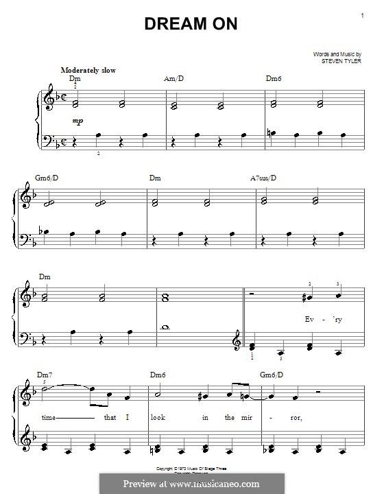 Dream On (Aerosmith): Facil para o piano by Steven Tyler