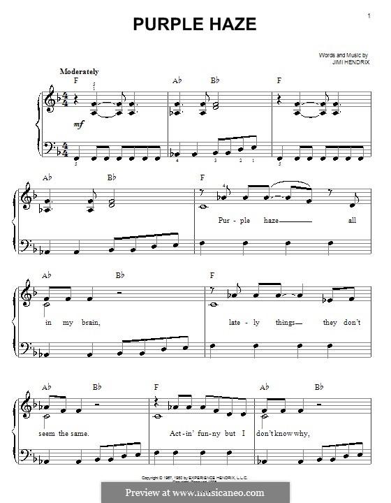 Purple Haze: Facil para o piano by Jimi Hendrix