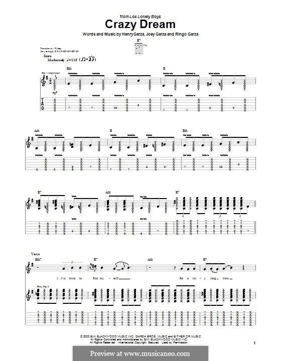 Crazy Dream (Los Lonely Boys): Para guitarra com guia by Henry Garza, Joey Garza, Ringo Garza