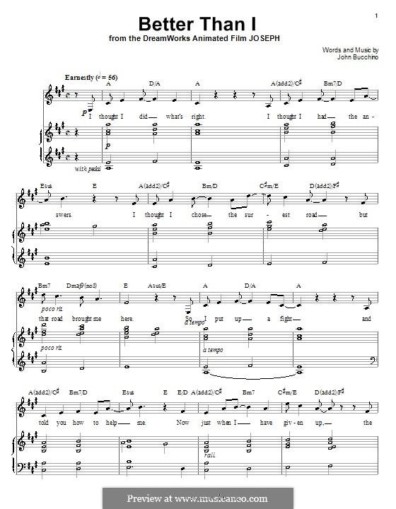 Better Than I: Para vocais e piano (ou Guitarra) by John Bucchino