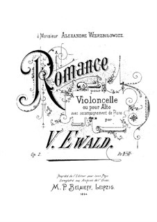 Romance for Cello (or Viola) and Piano, Op.2: Romance for Cello (or Viola) and Piano by Victor Ewald