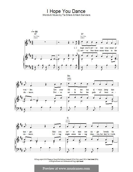 I Hope You Dance (Lee Ann Womack): Para vocais e piano (ou Guitarra) by Mark D. Sanders, Tia Sillers
