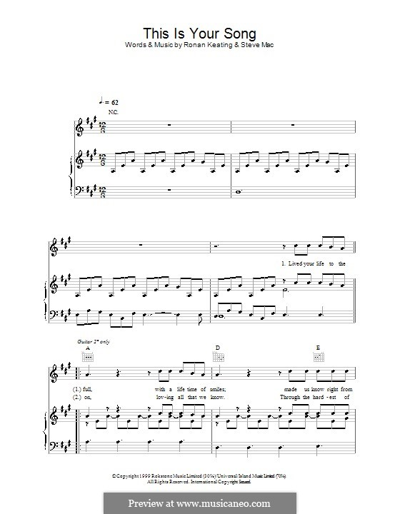 This Is Your Song: Para vocais e piano (ou Guitarra) by Steve Mac