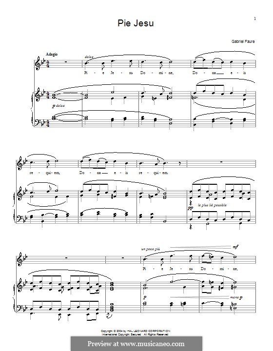 Requiem in D Minor, Op.48: Movement IV 'Pie Jesu', for voice and piano (or guitar) by Gabriel Fauré
