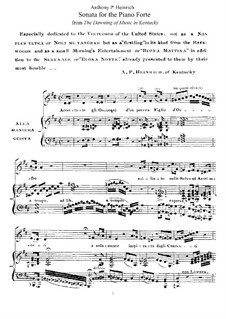 The Dawning of Music in Kentucky'. Sonata: Para Piano by Anthony Philip Heinrich