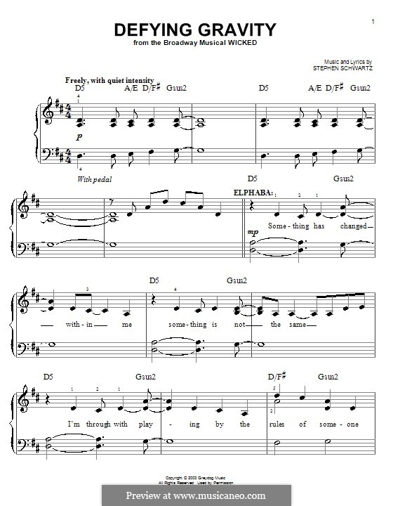 Defying Gravity (from the Broadway Musical Wicked): facil para piano (com acordes) by Stephen Schwartz