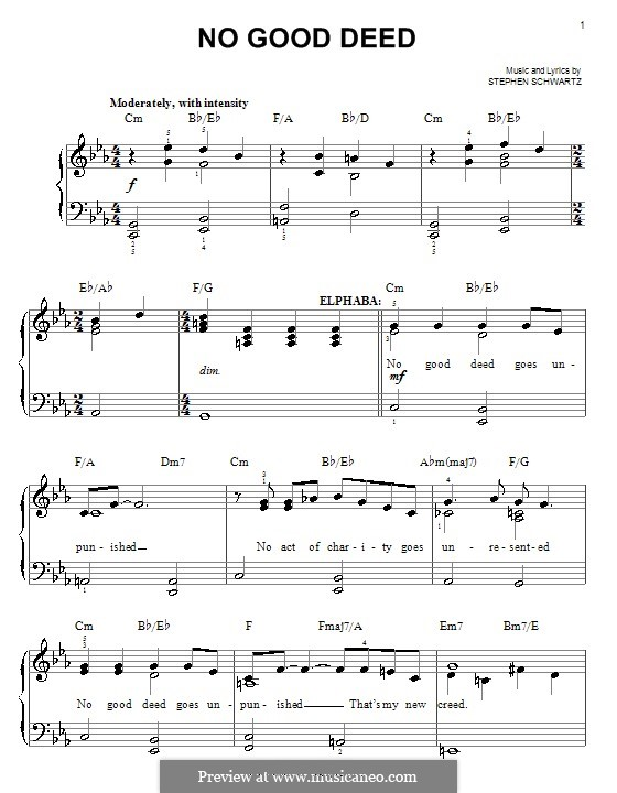 No Good Deed (from Wicked): Facil para o piano by Stephen Schwartz