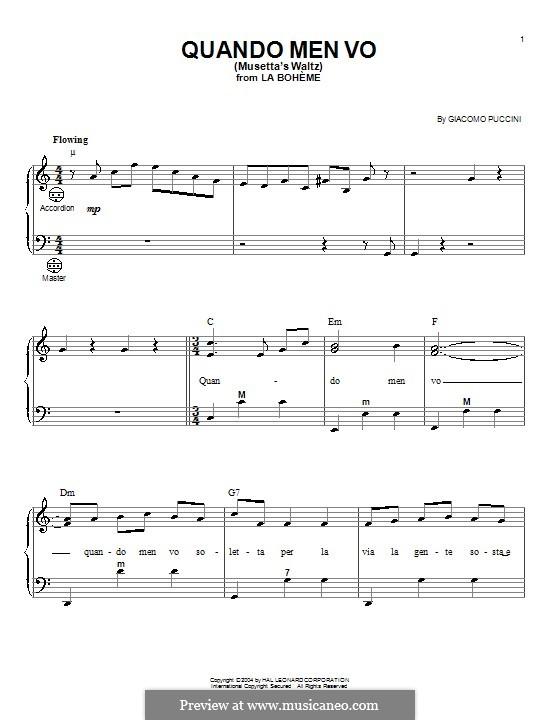 Quando men vo (Musetta's Waltz): para acordeão by Giacomo Puccini