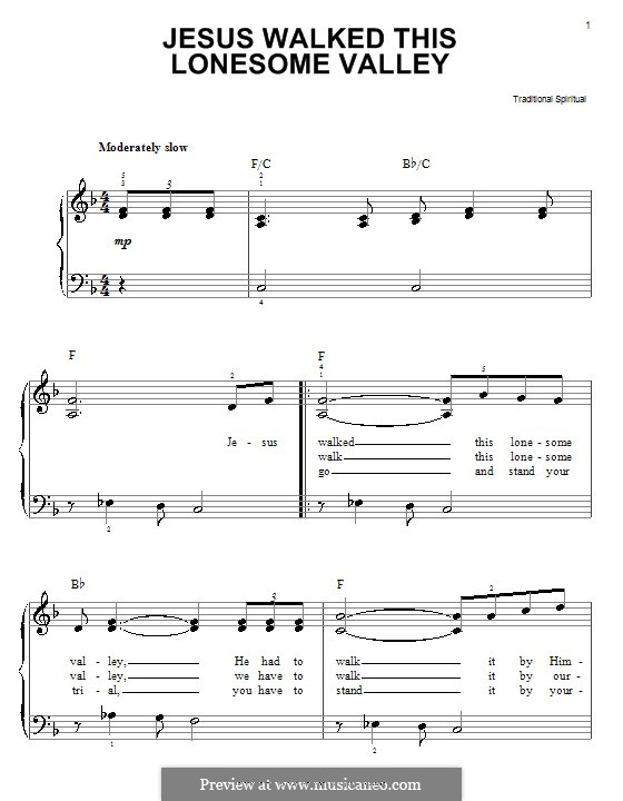Jesus Walked This Lonesome Valley: Para Piano by folklore