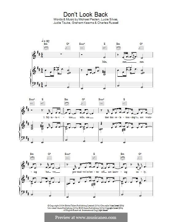 Don't Look Back: Para vocais e piano (ou Guitarra) by Judie Tzuke, Mike Peden
