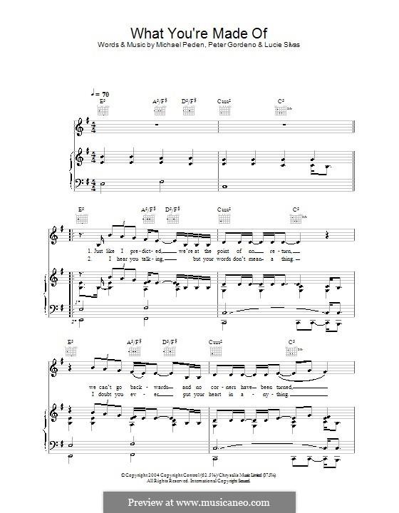 What You're Made of: Para vocais e piano (ou Guitarra) by Lucie Silvas, Mike Peden, Peter Gordeno