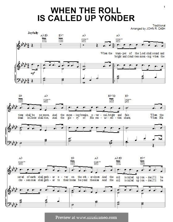 When the Roll is Called: Para vocais e piano (ou Guitarra) by James Milton Black
