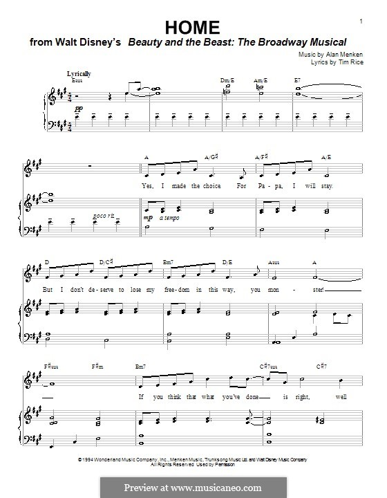 Home (from Beauty and the Beast: The Broadway Musical): Para vocais e piano (ou Guitarra) by Alan Menken