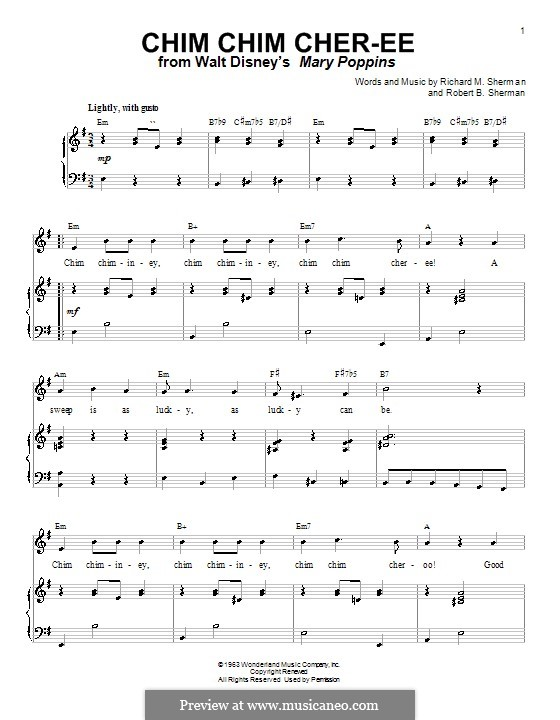 Chim Chim Cher-ee (from Mary Poppins): Para voz e piano ou guitarra (E menor) by Richard M. Sherman, Robert B. Sherman