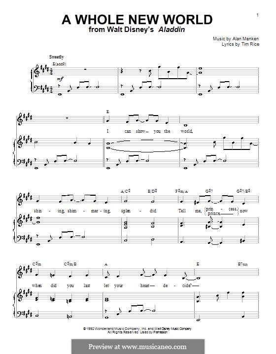 A Whole New World (from Aladdin): Para vocais e piano (ou Guitarra) by Alan Menken