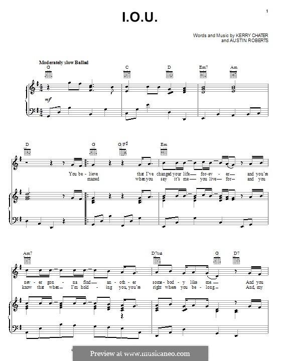 I.O.U. (Lee Greenwood): Para vocais e piano (ou Guitarra) by Austin Roberts, Kerry Chater