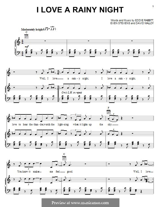 I Love a Rainy Night (Eddie Rabbitt): Para vocais e piano (ou Guitarra) by David Malloy, Even Stevens