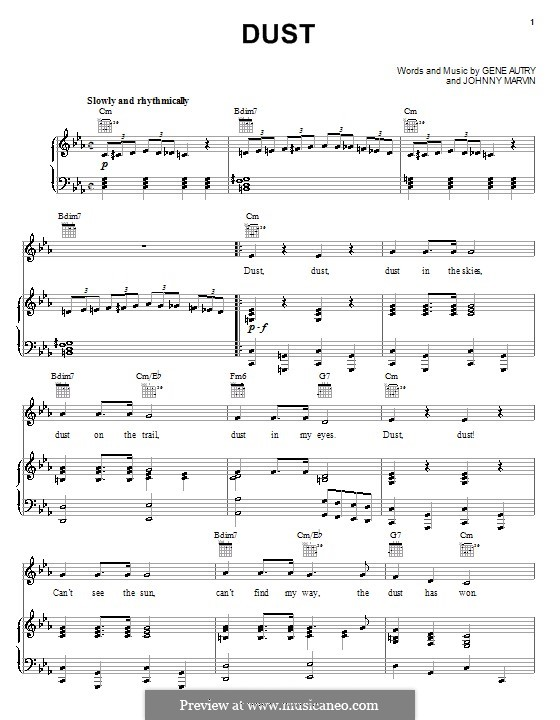 Dust: Para vocais e piano (ou Guitarra) by Johnny Marvin