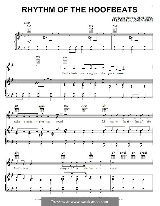 Rhythm of the Hoofbeats: Para vocais e piano (ou Guitarra) by Fred Rose, Johnny Marvin