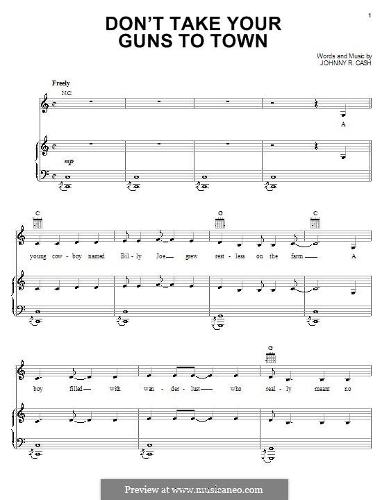 Don't Take Your Guns To Town: Para vocais e piano (ou Guitarra) by Johnny Cash