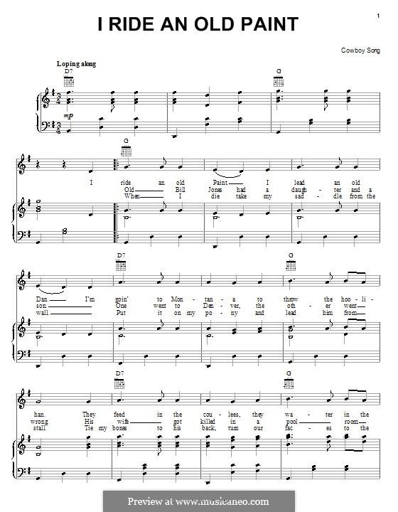 I Ride an Old Paint: Para vocais e piano (ou Guitarra) by Johnny Cash