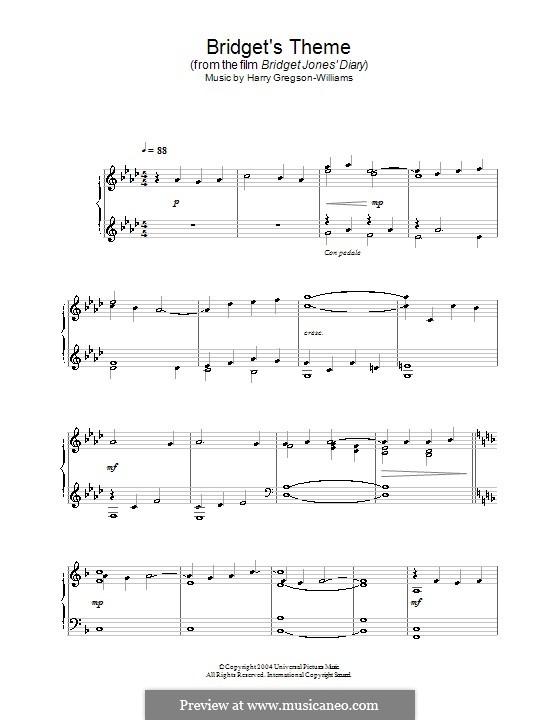 Bridget's Theme (from Bridget Jones's Diary): Para Piano by Harry Gregson-Williams