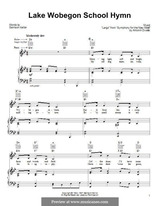 Movement II (Largo) Printable Scores: Theme, for voice and piano (or guitar) by Antonín Dvořák
