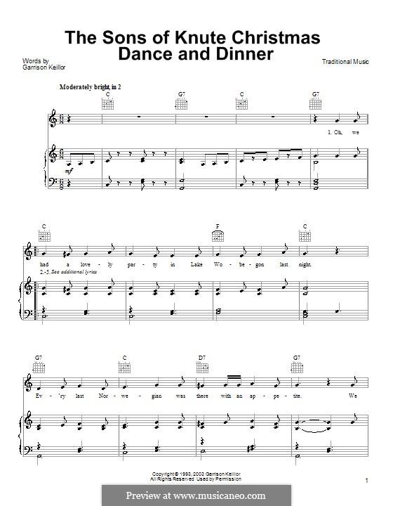 The Sons of Knute Christmas Dance and Dinner: Para vocais e piano (ou Guitarra) by Garrison Keillor