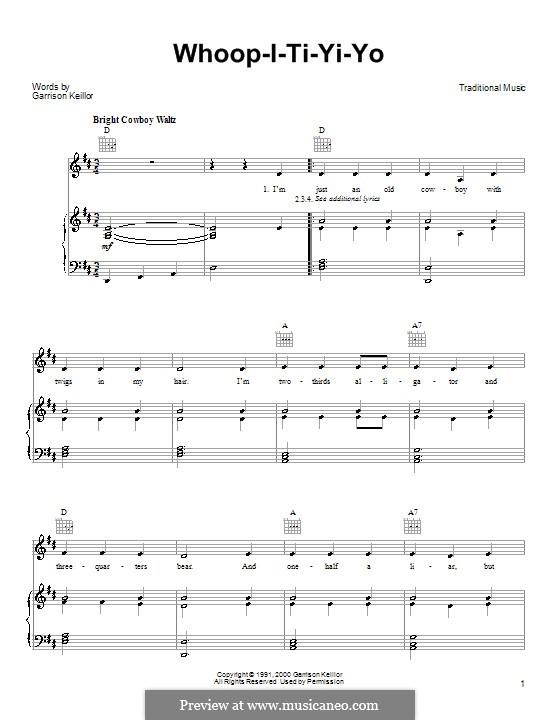 Whoop-I-Ti-Yi-Yo: Para vocais e piano (ou Guitarra) by Garrison Keillor