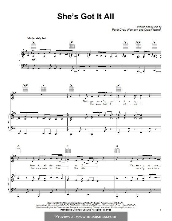 She's Got It All (Kenny Chesney): Para vocais e piano (ou Guitarra) by Craig Wiseman, Peter Drew Womack